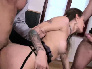 attractive natasha gets double penetrated by two giant dicks