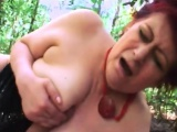 Big tits mature lady banged in the forest