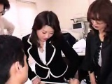 Three attractive Asian ladies share their lust for cock in