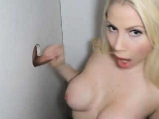 busty blonde russian amateur sucking dicks at glory hole