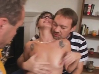 brunette wearing glasses getting face gangbanged in tampa