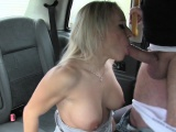 Fit blonde without money bangs in cab