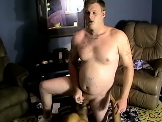 fat white dude with mustache has a dick sucking session