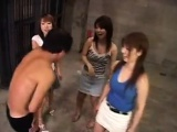 Submissive guy has a gang of sexy Oriental girls satisfying