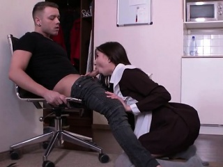 brunette maid selena mur sucks big cock of boss