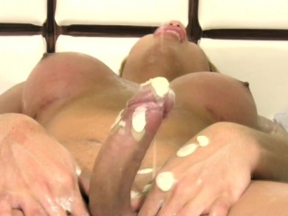 big cocked latina shemale gets covered in tons of lotion
