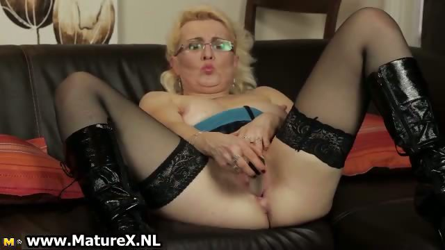 Porno Video of Horny Blond Housewife With Glasses