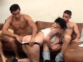 bi guys getting to fuck a hot busty emo babe with tattoos