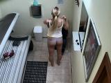 Blonde Hottie Secretely Masturbating in Public Solarium