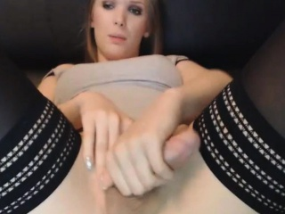 Beautiful Trans Girl Plays Her Hard Cock