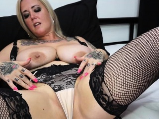 Tattooed Blonde Milf Undressing And Masturbate