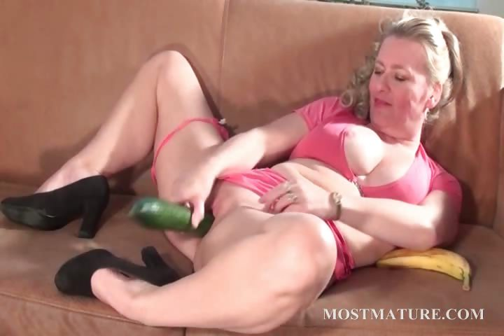 Porno Video of Dirty Mature Fucks Snatch With A Cucumber