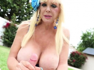 Busty Mature Jerking Cock And Gets Cumontits