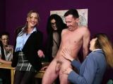 Babe cfnm secretaries jerking off lucky dude