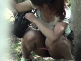 Asian slut pees in public