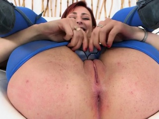 Small slut welcomes monster cock in her mellow pussy