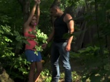 Smalltit babe spoon fucked in the woods