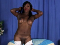 Busty ebony tranny in stockings masturbating | Porn-Update.com
