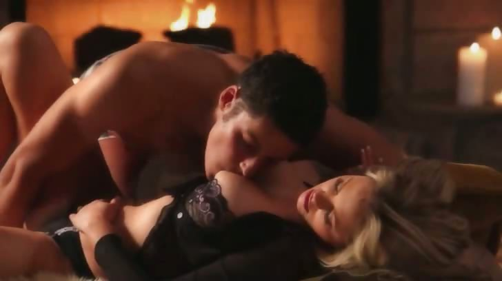 Porno Video of Breasty Blonde Fucking Before Fireplace