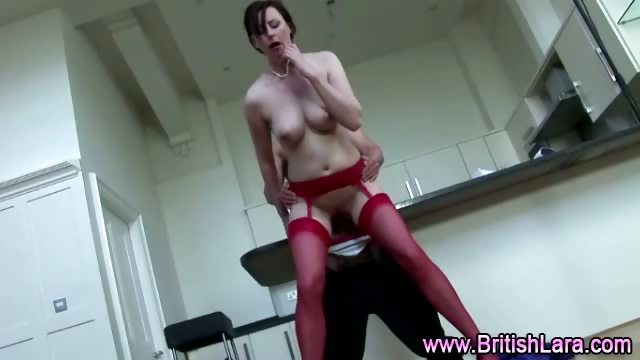 Porno Video of Mature British Lady In Red Stockings Fucking Amateur