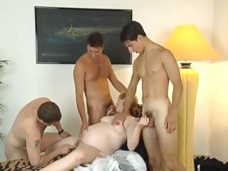 Porn Tube of Pregnant Blonde With Glasses & 3 Guys