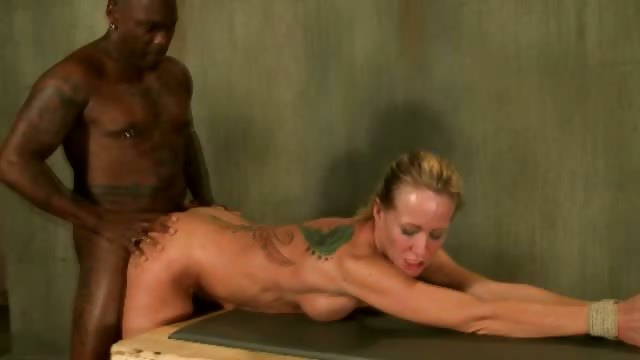 Porn Tube of Tied Up White Bitchs Ass Fucked Hard By A Black Big Dick