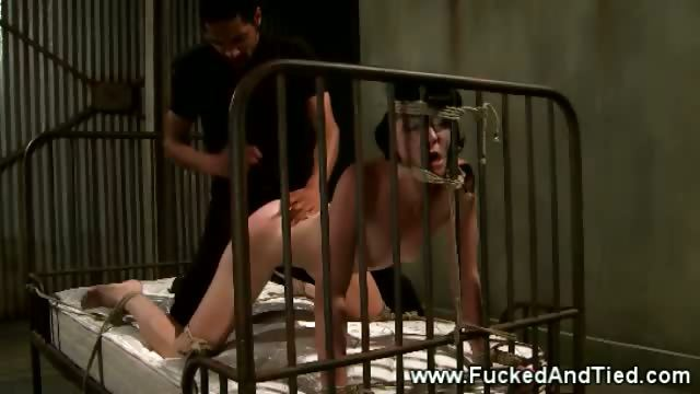 Porno Video of Head Tied Submissive Bitch Gets Rammed With Her Masters Slong