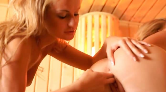 Porno Video of Lesbian Coed Lovers Fingering In Sauna