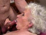 Gray-haired granny rides stiff wang