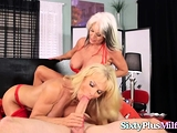 Two horny mature blondes fucked in threesome