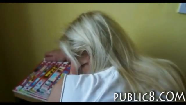 Porno Video of Cute Amateur Blonde Bookworm Girl Asshole Fucked In Library