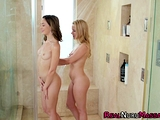 Wet and messy lezbo masseuse tonguing