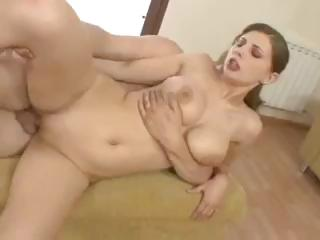 Sex Movie of Busty Young Brunette Sucks And Fucks A Cock And Gets A Facial