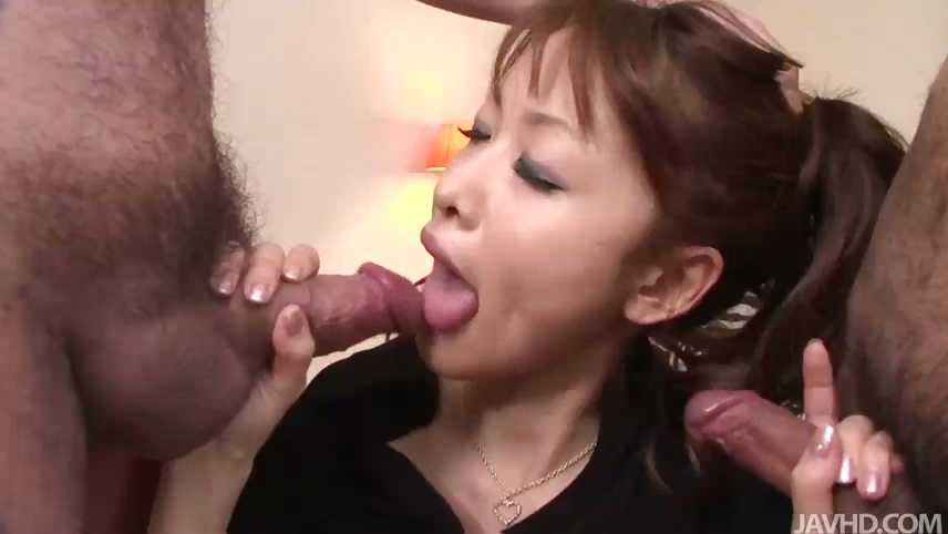 Porn Tube of Blindfolded Cutie Rika Kurachi Having A Blast With Two Guys