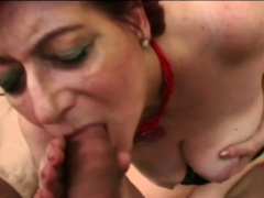 Granny Tammy moans and slurps big amateur cock outdoors