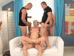 Mature wife gets pounded by several stallions