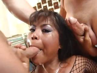 Porno Video of Nasty Asian Bitch Arcadia Gets Cum Covered By Dripping Cocks Then Drinks It From A Bowl