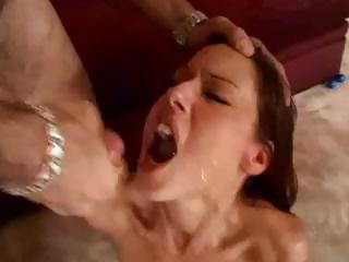 Sex Movie of Brunette Gets Fucked Hard With Dp Action And Sucking Cock In A Foursome