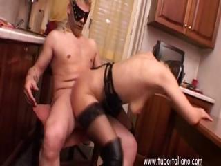 Porn Tube of Horny Wife, In A Mask Gets Dp From Hubby's Cock And A Dildo
