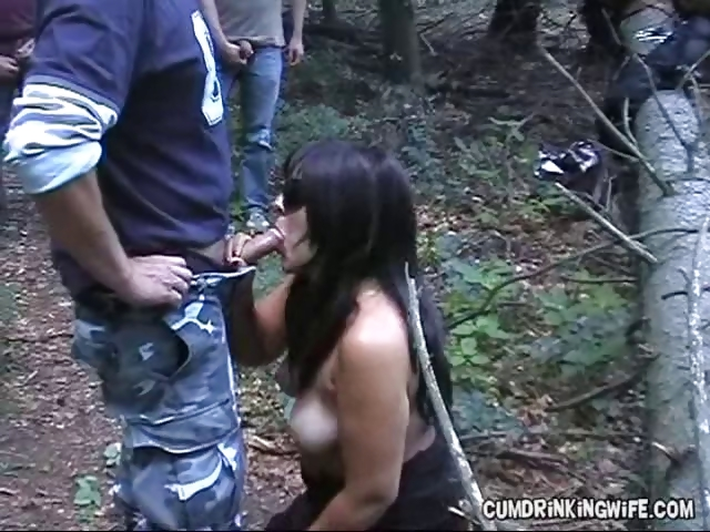 Sex Movie of Mature Amateur Gets On Her Knees In The Forest And Gives Multiple Blowjobs