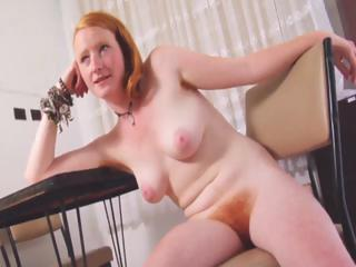Porno Video of Naughty Fiery Redhead Strips And Shows Her Natural Red Furry Bush
