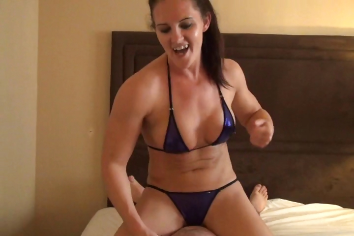 Porno Video of Sexy Young Brunette Chick Has A Wrestling Match With A Plump Dude On The Bed
