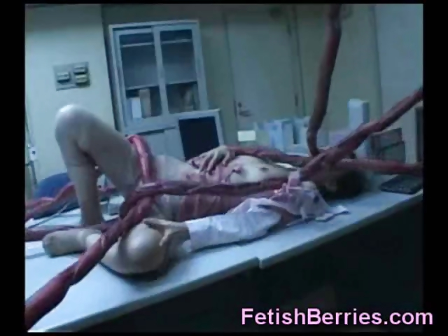 Sex Movie of Young Brunette On The Table Gets Invaded By Mad Doctors Nasty Tentacle Monster