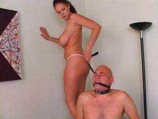 Porn Tube of Hot Busty Brunette Gets Her Slave To Do What She Wants And Sits On His Face