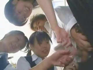 Porn Tube of Japanese Schoolgirls Are Teasing And Playing With Guy's Cock