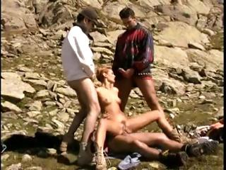 Porn Tube of Naughty Simone Horvath Gets Stuffed By Three Cocks In The Mountains