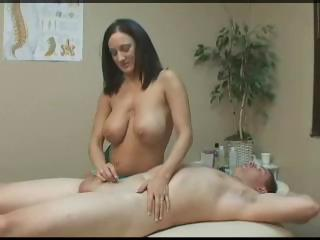 Porno Video of Busty Brunette Gives A Massage And Then Gives Him A Handjob