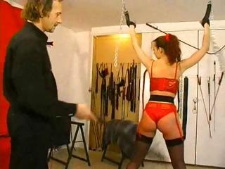Porn Tube of Tied Up French Girl Spared From Her Latex Outfit And Whipped