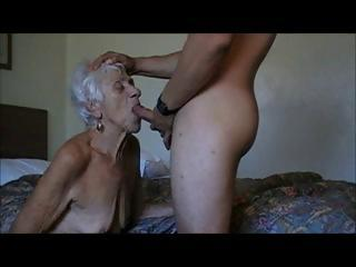 Porn Tube of Wrinkly Old Gray Haired Granny Gets A Hard Young Cock Pounding