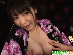 Cute chick yuuri himeno nipple pinching and cum on tits | Big Boobs Update